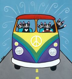 Rainbow VW Peace Bus Original Cat Folk Art. . . I wish my cats would ride around with me!! LOL
