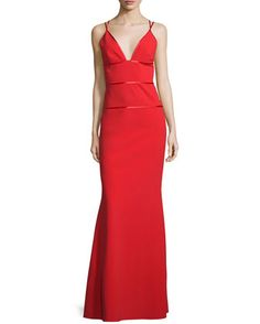 Sleeveless+V-Neck+Column+Gown,+Poppy+by+Jill+Jill+Stuart+at+Neiman+Marcus.