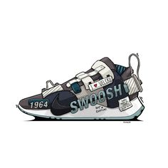 Sneaker Illustrations & Sketches on Behance In the last 30 years, the evolution of fashion Spikeless Golf Shoes, Dad Shoes, Shoe Drawer, Sneakers Sketch, Streetwear, Shoe Sketches, Sneaker Art, Illustration Sketches, Illustrations