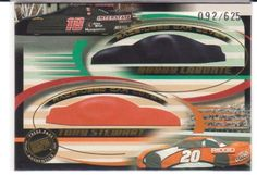 NASCAR 2002 DOUBLE COVER TRADING CARD RACE USED CAR COVERS T. STEWART & B. LABON