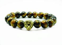 """Men's """"Arye"""" Gold Lion 10mm Tiger Eye Beaded Bracelet"""""""