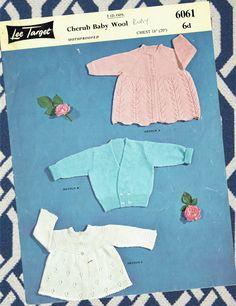 Original Vintage Baby Knitting Pattern 1950s Lee Target 6061