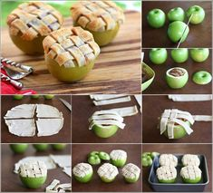 MINI APPLE PIES BAKED IN #APPLES – lighten up on the #pastry when you use an apple to hold the filling! Very clever and makes an awesome presentation.