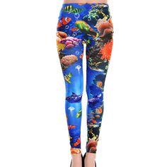 Fashionable Ocean Print Narrow Feet Skinny Nine Points Leggings For Women Girls In Leggings, Leggings Are Not Pants, Women's Leggings, Cheap Leggings, Patterned Leggings, Printed Leggings, Affordable Workout Clothes, Yoga Workout Clothes, Leggings Store