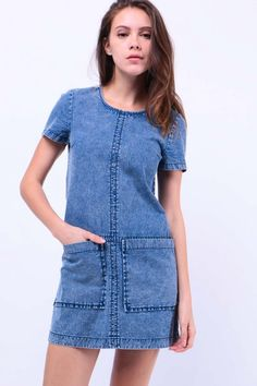 Front Pocket Denim Shift Dress (Light Blue) S$ 39.00