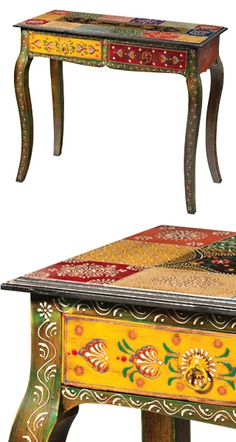 Hand painted indian wooden console table