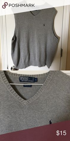 **24 Hour Sale** Polo sweater vest Polo by Ralph Lauren grey sweater vest. V neck. 100%cotton Polo by Ralph Lauren Sweaters V-Neck
