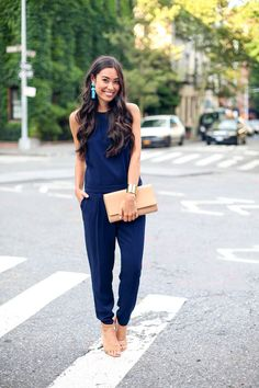 d63c9589ff Kat Tanita of With Love From Kat wears a Trina Turk navy blue jumpsuit with  Pour La Victoire heels