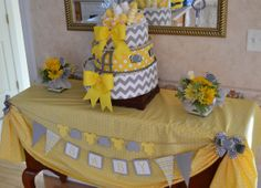 Baby Shower Decorations, Yellow and Grey Elephants