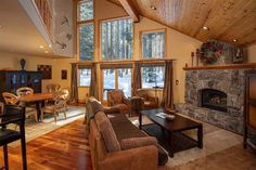 11471 Lucerne Ln, Truckee, CA 96161 | MLS #20200195 | Zillow Rock Fireplaces, Gas Fireplace, Cherry Wood Floors, Family Room, Home And Family, Energy Star Appliances, Davos, Lucerne, Custom Lighting