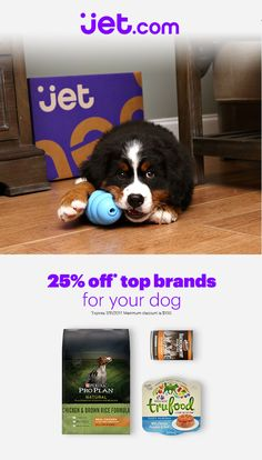 Use the code PAWSOMEDEALS for 25% off the top dog brands on Jet. Jet is a shopping site with all the essentials for you and your pet. Shop dog food, toys, and treats to save on everything you need for your furry friend.
