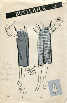 FREE US SHIP Vintage Retro 1940's 40's Tailored 4 Gored Skirt Butterick 3166  Waist 26 Unprinted by LanetzLivingPatterns on Etsy