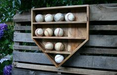 Baseball Wall Organizer Wood