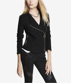Mixed Knit Moto Sweater Jacket #Express