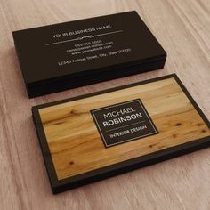 Stylish Border Wood Grain Texture Business Card Templates