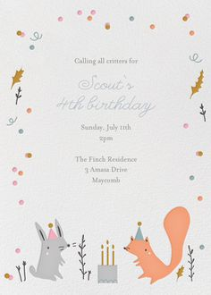 Forest Birthday Party by Little Cube for Paperless Post. Online invitations for kids' birthdays made with easy-to-use design tools and RSVP tracking. View other kids' party invitations on paperlesspost.com.