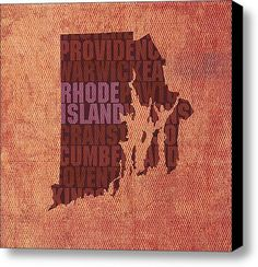Rhode Island Word Art State Map On Canvas By Design Turnpike