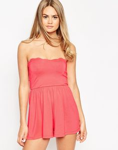 ASOS Bandeau Romper with Scallop Edge