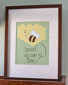 8x10 Sweet as can Bee Nursery Art Print
