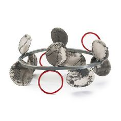 "Myung Urso Bracelet, ""Ballad,"" Silk, Cotton, Asian Ink, Asian Stamp Ink, Thread, Sterling Silver and Lacquer"