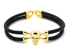 Black Stingray Leather & Stainless Steel Yellow Gold Plated Skull - MSS8205