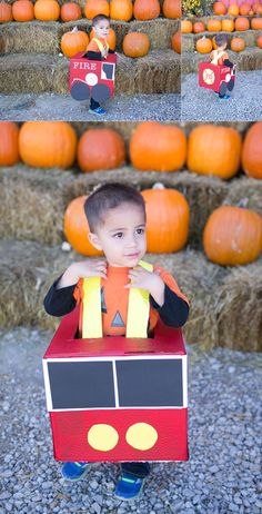 Here's a great idea on what to do with empty cardboard boxes - create a fun fire truck costume from things you probably already have at home! Unique Toddler Halloween Costumes, Baby Halloween Outfits, Toddler Girl Halloween, Toddler Costumes, Spooky Costumes, Halloween 2019, Diy Costumes, Scary Halloween, Costume Ideas