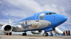 Avion de Aerolineas Argentinas que transporto al Seleccionado Argentino a Brasil. 2014