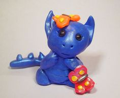 Blue dragon cake topper polymer clay  by AnimalCrackers73 on Etsy, £10.00