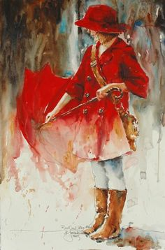 Rainy Days and Umbrellas is a watercolor by Bev Jozwiak. The bright red is a good contrast against the indistinct grey background of the day.