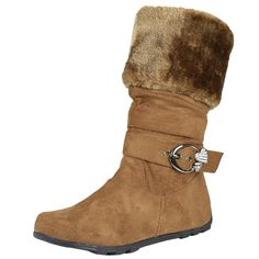 Kids Mid Calf Boots Fur Cuff Heart Buckle Accent Casual Comfort Shoes Tan Girls Footwear, Girls Shoes, Comfortable Boots, Mid Calf Boots, Zip Ups, Little Girls, Fur, Ankle, Heart