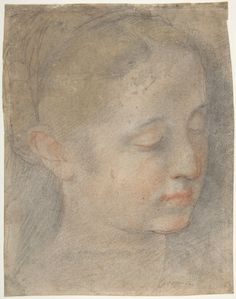 This exquisite, though fragile and abraded drawing in color served as a study for the head of the Virgin in the Madonna di San Giovanni, a votive altarpiece probably painted for the Church of the Capuchin Fathers at Crocicchia around 1565, and then transferred to the Convent of the Capuchins in Urbino (Galleria Nazionale delle Marche, Urbino; reproduced and discussed with related drawings in Emiliani 1975, I, pp