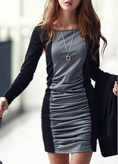 Enchanting Color Block Long Sleeve Round Neck Mini Dress