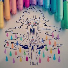 Gotas de color, lágrimas de alegría ♥my oc pluvia. PAINTED with bic marking…