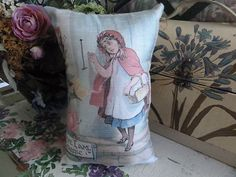 RED RIDING HOOD PILLOW from VINTAGE PRINT from an OLD BOOK ..#1 of three $15