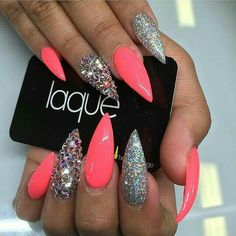 Nails, stiletto nails и laque nail bar. Glam Nails, Hot Nails, Bling Nails, Glitter Nails, Beauty Nails, Hair And Nails, Stiletto Nails, Beauty Makeup, Best Acrylic Nails