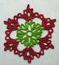 Crochet snowflake in different colourway.