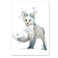 Winter Avenue Press Fox Blue Fox Flowers Print - Our Dreamy Creatures In Colour Series Continues With The Addition Of A Beautiful Fox With Blue Flowers The Original Illustrations Are Hand Drawn With Pencil In Melbourne And The Prints Are Beautifull Wolf Illustration, Cute Animal Drawings, Cute Drawings, Cute Fox Drawing, Fuchs Tattoo, Fox Print, Animal Tattoos, Fox Tattoos, Body Art Tattoos