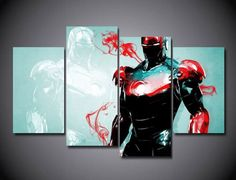 Style Your Home Today With This Amazing 4 Panel Framed Iron Man Marvel Comic Super Hero Wall Canvas Art For $99.00  Discover more canvas selection here http://www.octotreasures.com  If you want to create a customized canvas by printing your own pictures o