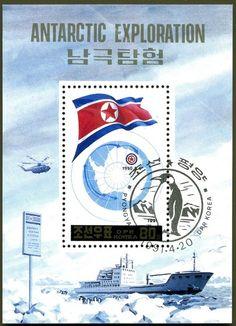 Sello: Globe, flag, ship (Corea del Norte) (Antartic exploration) Mi:KP BL262
