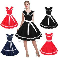 """50s style sailor dress, in red, navy blue, and black. $30 + $10 S&H. 39.4"""" long."""