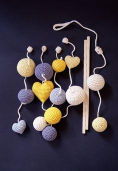 Crochet Balls/Hearts Baby Mobile by YarnBallStories on Etsy