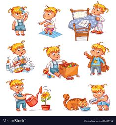 Girl brushing her tee. Baby sitting children's pot. Girl brushing her tee…,… – Daily routine activities. Baby sitting children's pot. Girl brushing her tee…,… – Daily Routine Kids, Daily Routine Activities, Preschool Activities, Kids Routine Chart, Funny Cartoon Characters, Cartoon Kids, Funny Cartoons, Baby Kind, Drawing For Kids