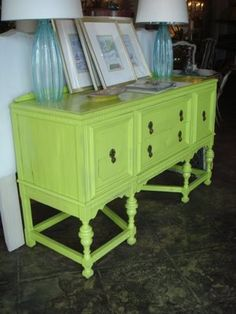 vintage buffet table - green