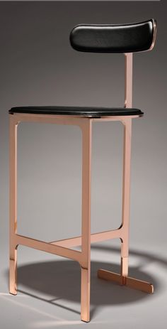Bar stool in Rose gold and black Coffee Chairs, Bar Chairs, Dining Chairs, Folding Furniture, Cool Furniture, Furniture Design, Industrial Bar Stools, Modern Bar Stools, Sofas