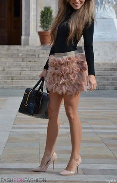 Lovely legs in a short skirt and high heels