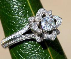 wo Rows - UNIQUE Flower Rose Diamond Engagement Ring Semi mount -Setting - 1.25 carat - 14K white gold - art deco
