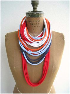 NEW...Multicolor T Shirt Necklace / Long Short Choker / by ohzie on Etsy