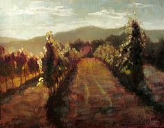 This is an original oil Tuscany-Italy painting by artist Christopher Clark. This painting is of the vineyard next door to the farm that I stayed on near Florence in the Tuscany region of Italy. Every day we would take the donkeys (Sancho and Panza) for a walk there to eat grasses and weeds, and just lounge around a while during the late afternoon. Own this original Tuscany painting today and enjoy a gentle afternoon in an Italian vineyard.