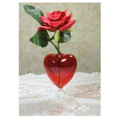 Glass Heart Vase Fabric Red Rose Valentines Day Gift Anniverasy Couples #GlassHeartVase
