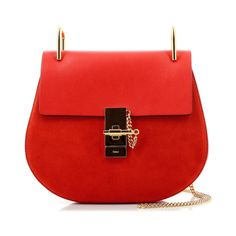 Chloé Drew Poppy Red Small Bag (4,440 ILS) ❤ liked on Polyvore featuring bags, handbags, red handbags, red purse, chain bags, chain purse and chain handbags